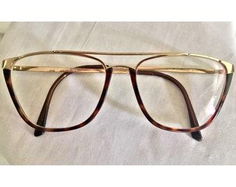 f9e1fb455e8 RARE Gucci Vintage Double Bridge Metal Eyeglass Frames- Gold and Tortoise-  MINT
