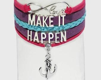 Make It Happen Bracelet | Inspiration Jewelry | Mindset Jewelry | Law of Attraction Bracelet | Mantra Bracelet | Confidence Jewelry | Anchor