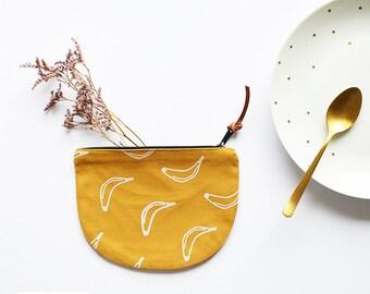 Cotton wallet, zipper pouch yellow mustard