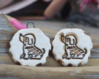 Year of the Dog-  Handmade Porcelain Bead Pair