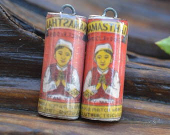Vintage Japanese Matchbox- Handmade Porcelain Picture Bead Pair