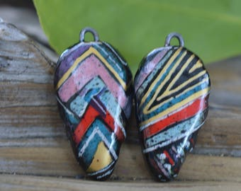Colorful  Handmade Porcelain Picture Bead Pair