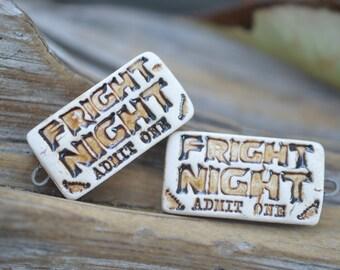 Fright Night Tickets!- Handmade Porcelain Bead Pair