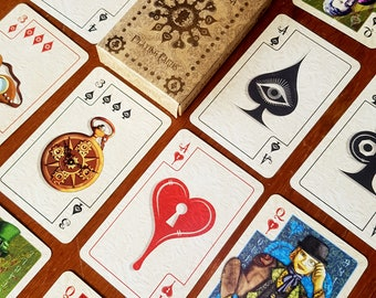 Steampunk Playing Cards | Della Mortika Characters | Bridge or Poker Deck of Cards