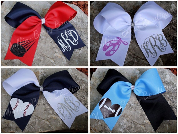 Soccer Cheer Style Hair Bow with Monogram