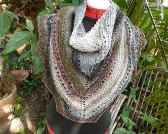 Hand knitted earthy tones  silk / wool neckerchief / wrap/ shawl