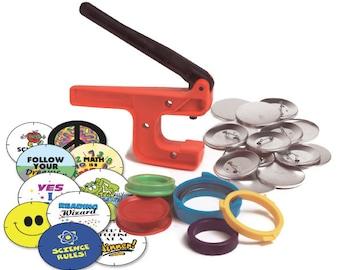 "Button-Maker: 2 1/4"" Starter Kit (School Edition) - World's Lowest-Priced Button Maker/Button Machine!"