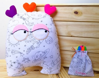 Colour Me Alien - Monster cushion - Cushion to colour - Cushion to color - Color Me Alien