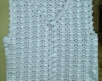 Crochet Lace Vest / Woman's Vest, in Pale Denim
