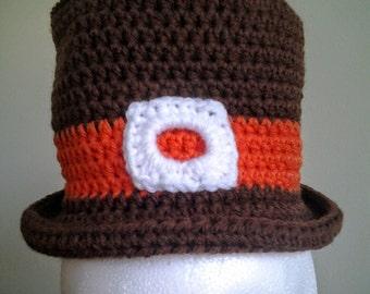Crocheted Pilgrim Hat, Thanksgiving Hat