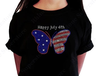 """Girl's Rhinestone T-Shirt """" 4th of July Butterfly """" Size 3 to 14 Available"""