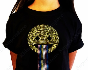 "Girls Rhinestud T-Shirt "" Happy Face with Rainbow "" in  Kids Size 3 to 14"