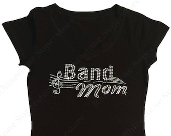 "Women's Rhinestone T-Shirt "" Band Grandma "" in S, M, L, 1X, 2X, 3X - Music Notes"