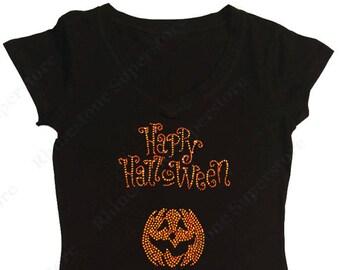 "Women's Rhinestone T-Shirt with ""Happy Halloween with Pumpkin"" in S, M, L, 1x, 2x, 3x"