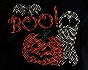 Ghost Boo Iron on Rhinestone Transfer Hot Fix Bling Halloween Spooky