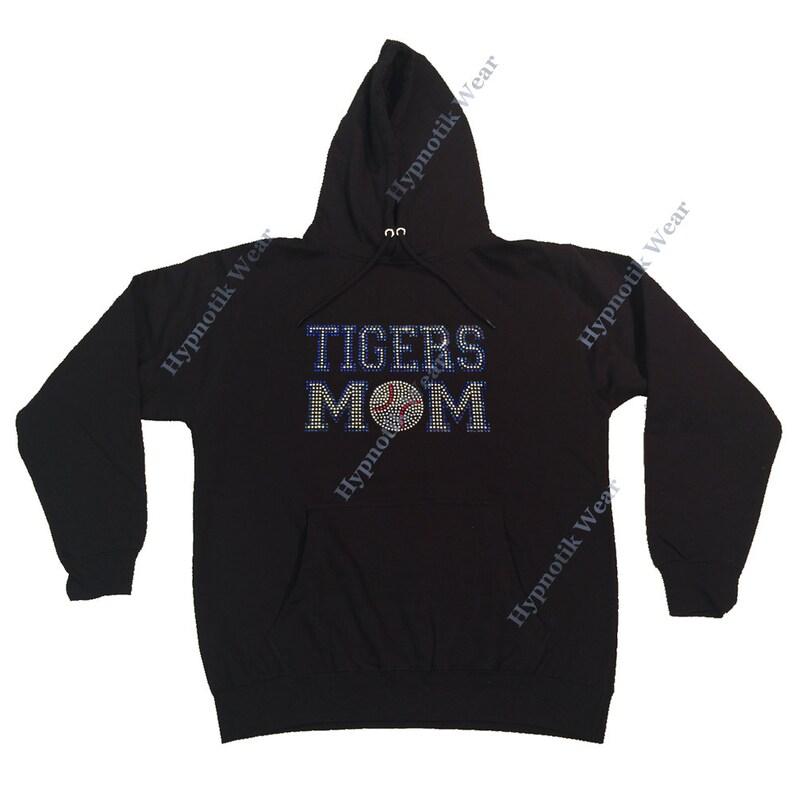 Rhinestone Women/'s Pullover Hoodie  Blue Tigers Mom  Sweatshirt Sm to 3X