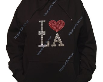 "Rhinestone Women's Pullover Hoodie "" I Love LA in Spangles "" Sweatshirt Sm to 3X"