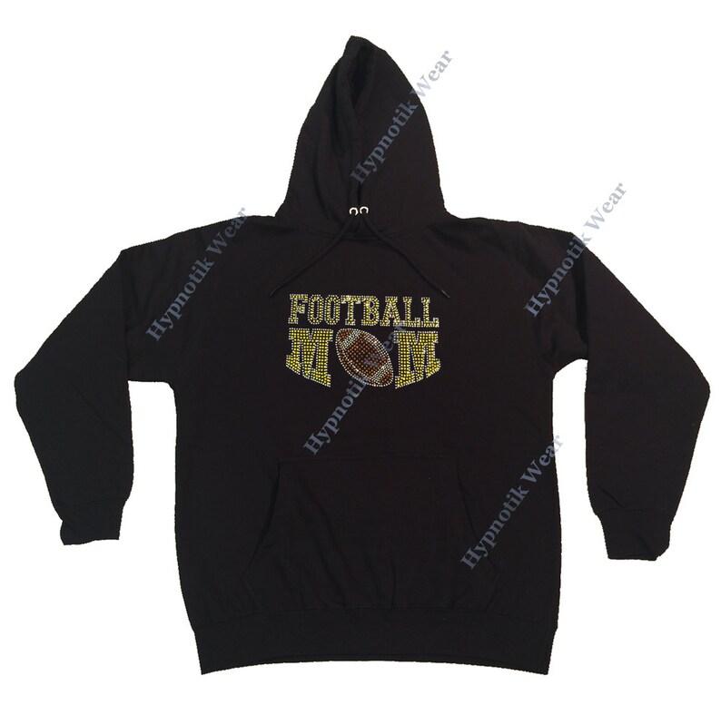 Rhinestone Women/'s Pullover Hoodie  Yellow Football Mom in Rhinestones  Sweatshirt Sm to 3X
