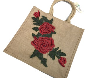 "Tawny Jute Bag Embellished with "" Red Roses "" Tote Bag, Earth Bags"