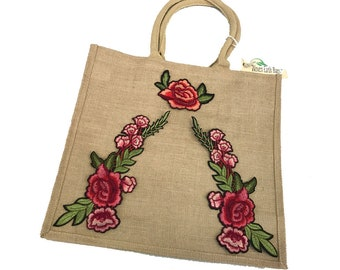 "Tawny Jute Bag Embellished with "" Floral Red and Pink Roses "" Tote Bag, Earth Bags"