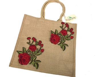 "Tawny Jute Bag Embellished with "" Floral Red Roses "" Tote Bag, Earth Bags Woven"