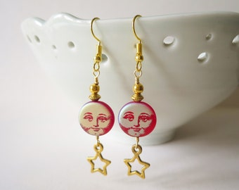 Moon And Stars Celestial Earrings, Vintage Style Smiling Face Czech Glass Beads, Red And Gold Beaded Earring