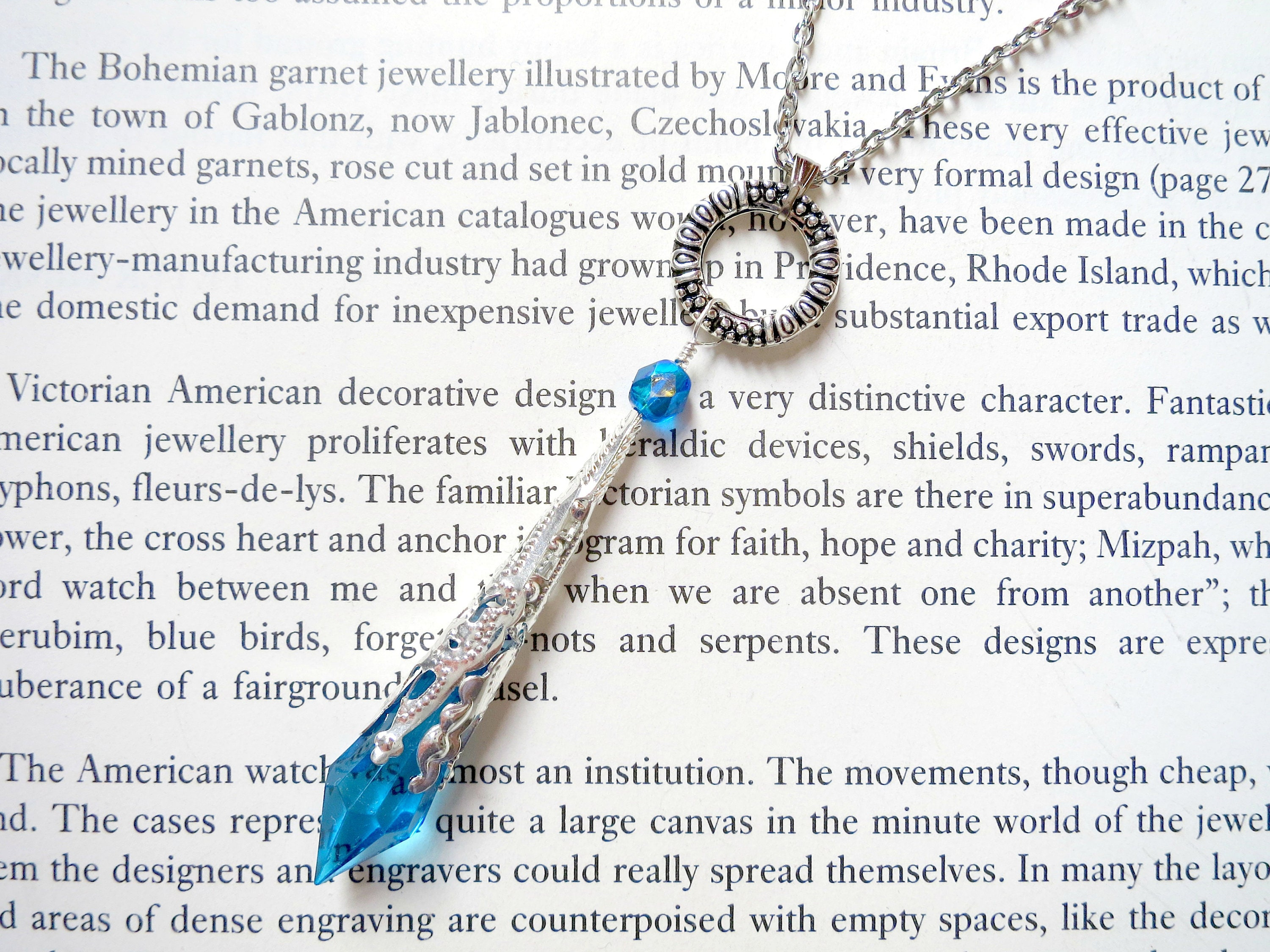 Teal Blue Necklace Silver Filigree Acrylic Crystal Teardrop Pendant Art  Nouveau Bohemian Jewelry Vintage Inspired Gifts For Women Under 15