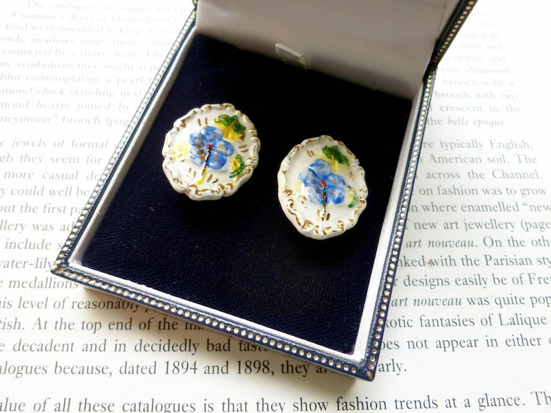 Mothers Day Ideas Gifts Under 10 Mid Century Vintage Ceramic Jewellery Forget Me Not Handpainted Earrings