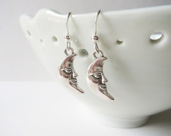 Crescent Moons Charm Earrings, Man In The Moon, Celestial Jewellery