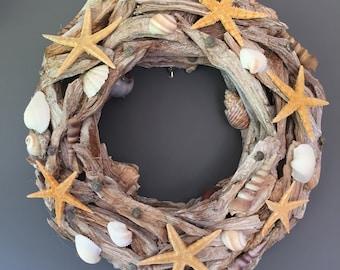 Summer wreath, Beach wreath, Shell wreath, Driftwood wreath, Starfish wreath, Wedding decor, Door wreath, Wall decoration.