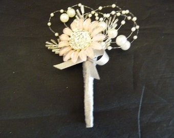 Dusky pink flower brooch boutonnier with ivory pearls and silver bead 'leaves with silver ribbon - Grooms boutonniere - Wedding buttonhole