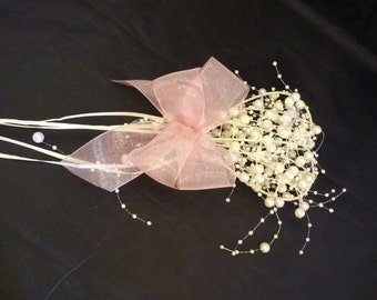 Bridesmaids heart wand in ivory with pale pink and ivory beads and dusky pink ribbon, Flower girl wand in pink and ivory, Childs wand