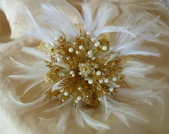 Bridesmaids bouquet in gold and ivory with feather collar. Beaded bouquet, feather bouquet, brooch alternative