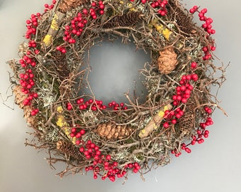Natural wreath, Christmas wreath, Door Wreath, cone wreath, mossed wreath, xmas wreath, berry wreath.