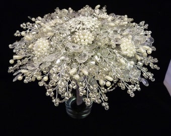 Brides bouquet in pearl and silver - brooch bouquet alternative - diamante bouquet - pearl brooch bouquet - bridal bouquet - brides brooch
