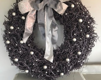Large 24 inch purple Christmas wreath with baubked in grey and silver, luxury door wreath. Extra large wreath, winter wreath. Door wreath