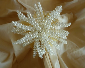 Bridesmaid bouquet in ivory pearls, winter wedding bouquet, snowflake bouquet, gold ribbon flower girl