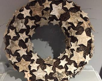 Christmas star Wreath, natural wreath, nordic wreath, modern wreath, door wreath