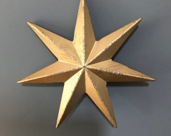 Gold Star Christmas decorations. 3 sIzes. Christmas Tree Decorations. Christmas Tree ornaments.