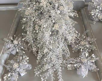 Extra large snowflake bridal shower bouquet - shower bouquet - crystal bouquet - crystal shower wedding bouquet - brooch bouquet