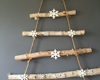 Wooden Christmas tree wall hanging (without snowflakes). Christmas decoration. Xmas decoration.