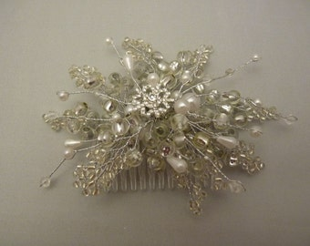Snowflake hair comb in silver with diamante snowflake, silver beads, white pearls to match snowflake bouquet. winter wedding. Bridesmaids