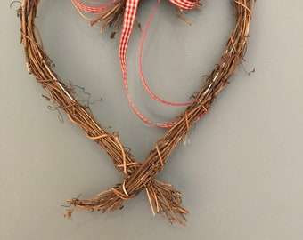 Heart home decor, simple Christmas geart, cottage christmas decoration. Two sizes.