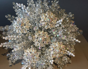 Ice queen wedding bouquet with AB brooches and crystals, winter wedding bouquet. Brooch bouquet.