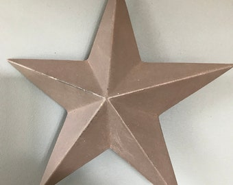 Grey star Christmas decoration. Wooden Christmas star. Solid wooden grey star. Star hanger.