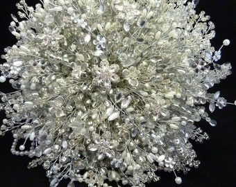 Extra Large Great Gatsby wedding bouquet, 1920's style wedding bouquet, Flower brides bouquet, Brooch bouquet, Silver, bouquet, dragonfly