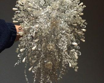 Snowflake shower bouquet - cascade bouquet - crystal bouquet - winter wedding bouquet - snow queen bouquet