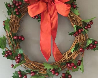 Christmas red berry and holly wreath, vine wreath, xmas door wreath, berry wreath, holiday wreath