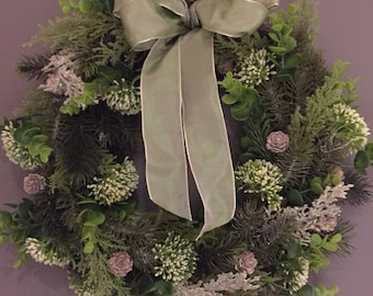 Winter white christmas wreath- snowball wreath - door wreath - xmas wreath - holiday wreath