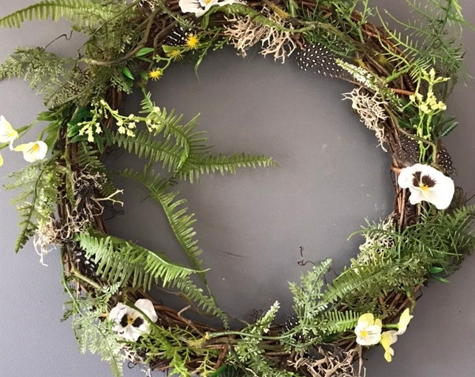 Featured listing image: Easter wreath, Spring wreath, door wreath, natural wreath, egg wreath, feather wreath, cheap spring wreath, vine wreath